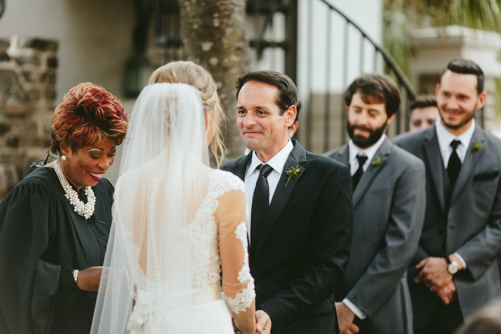 courtyard wedding ceremony, backyard wedding ceremony, wedding ceremony inspiration, unique ceremony location, groomsmen, bridal party photo inspiration, black tie bridal party, black tie groom, groomsmen in tux, groomsmen style ideas, Philadelphia wedding, destination wedding, Brooklyn wedding, Brooklyn elopement, Philadelphia elopement, Gadsden house Charleston South Carolina, southern wedding inspiration, unique wedding inspiration, wedding inspiration, destination wedding inspiration, wedding ideas, romantic wedding inspiration, classy wedding ideas