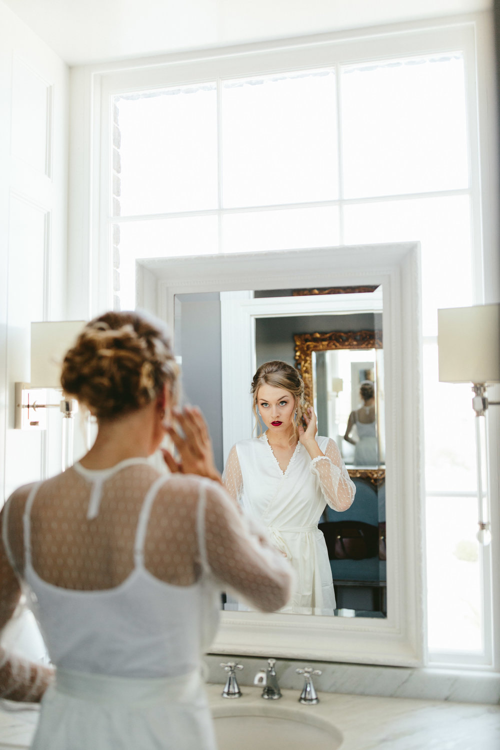 Glam bridal makeup, bold lip bridal makeup, bridal makeup, red lipstick bride, red lip bridal makeup, lace robe, bridal robe, vintage bridal robe, bride getting ready, Philadelphia wedding, destination wedding, Brooklyn wedding, Brooklyn elopement, Philadelphia elopement, Gadsden house Charleston South Carolina, southern wedding inspiration, unique wedding inspiration, wedding inspiration, destination wedding inspiration, wedding ideas, lace wedding dresses, classy wedding ideas