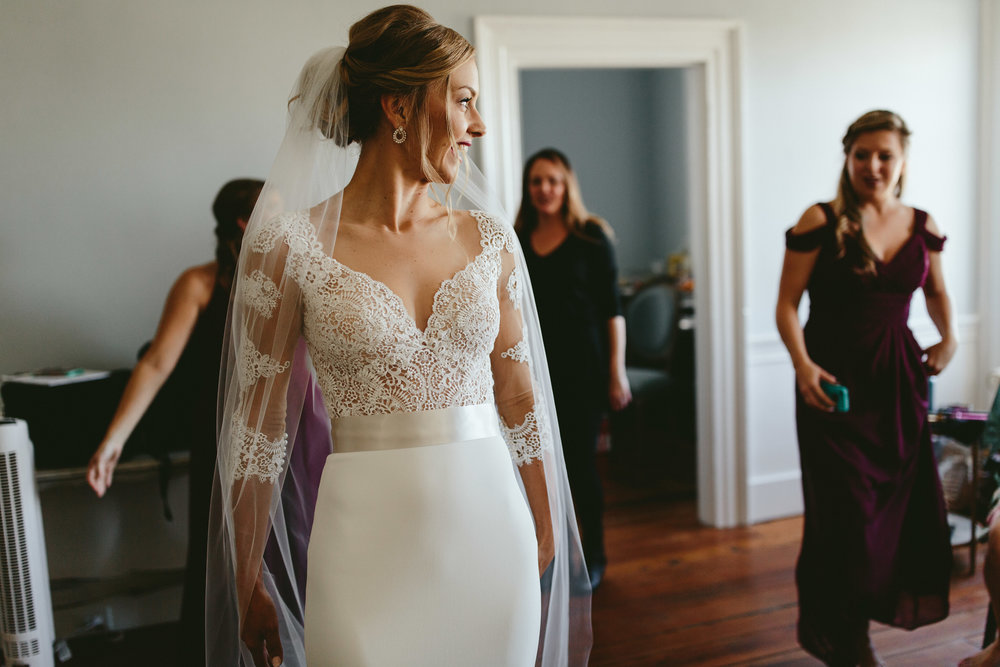 bride getting ready, lace wedding dress, lace wedding gown, vintage lace dress, transparent lace wedding dress, sweetheart neckline wedding dress, Philadelphia wedding, destination wedding, Brooklyn wedding, Brooklyn elopement, Philadelphia elopement, Gadsden house Charleston South Carolina, southern wedding inspiration, unique wedding inspiration, wedding inspiration, destination wedding inspiration, wedding ideas, lace wedding dresses, classy wedding ideas