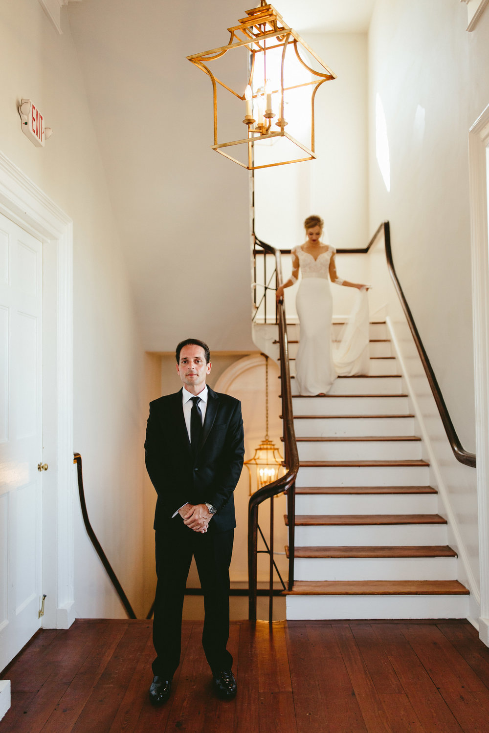 first look, first look inspiration, wedding first look, staircase first look, bride surprises groom, first look inspiration, Philadelphia wedding, destination wedding, Brooklyn wedding, Brooklyn elopement, Philadelphia elopement, Gadsden house Charleston South Carolina, southern wedding inspiration, unique wedding inspiration, wedding inspiration, destination wedding inspiration, wedding ideas, lace wedding dresses, classy wedding ideas