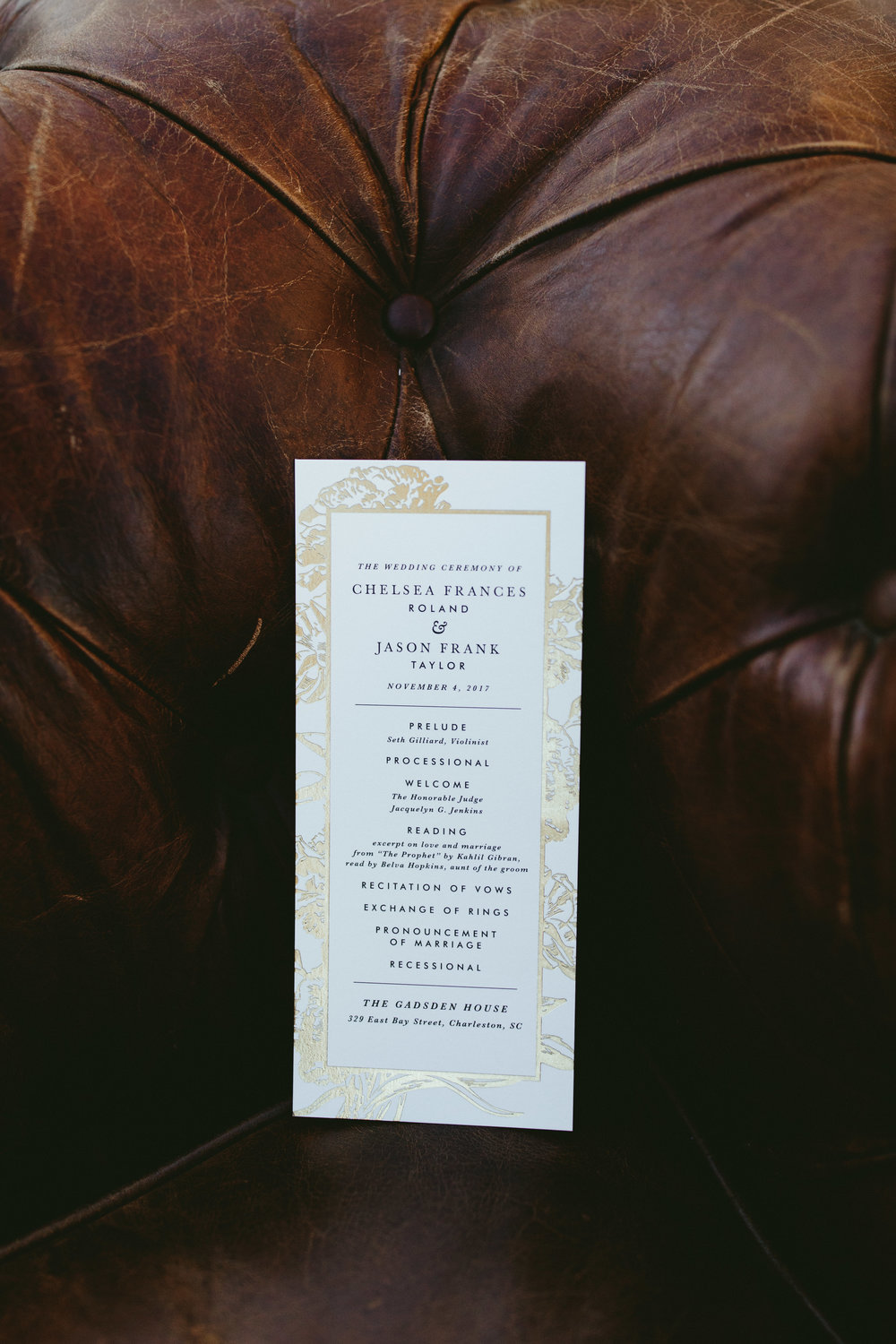 Wedding program inspiration, classy wedding program inspiration, gold wedding program, gold wedding stationary,Philadelphia wedding, destination wedding, Brooklyn wedding, Brooklyn elopement, Philadelphia elopement, Gadsden house Charleston South Carolina, southern wedding inspiration, unique wedding inspiration, wedding inspiration, destination wedding inspiration, wedding ideas, romantic wedding inspiration, classy wedding ideas