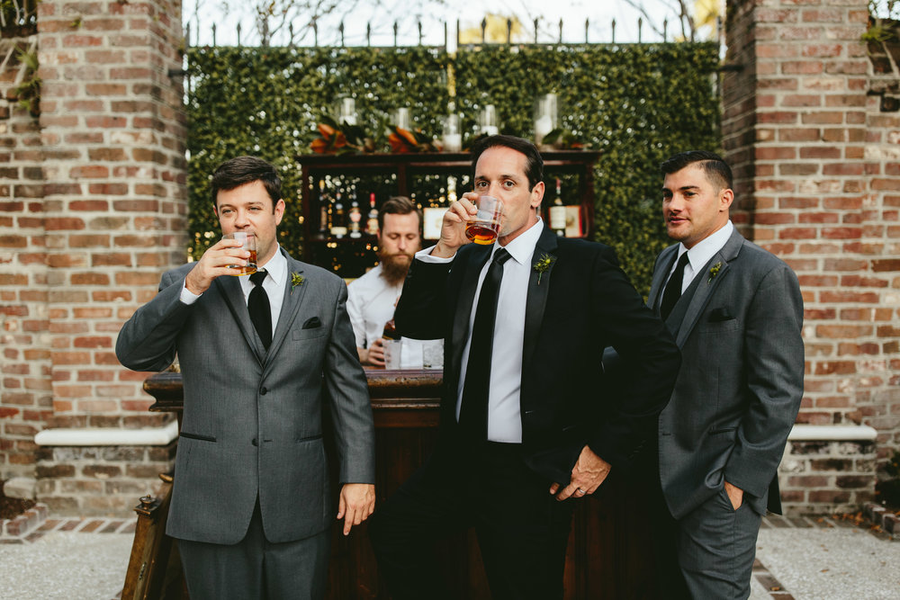 unique wedding reception, courtyard wedding reception, wedding bar inspiration, unique groomsmen photos, prohibition inspired wedding, Philadelphia wedding, destination wedding, Brooklyn wedding, Brooklyn elopement, Philadelphia elopement, Gadsden house Charleston South Carolina, southern wedding inspiration, unique wedding inspiration, wedding inspiration, destination wedding inspiration, wedding ideas, romantic wedding inspiration, classy wedding ideas