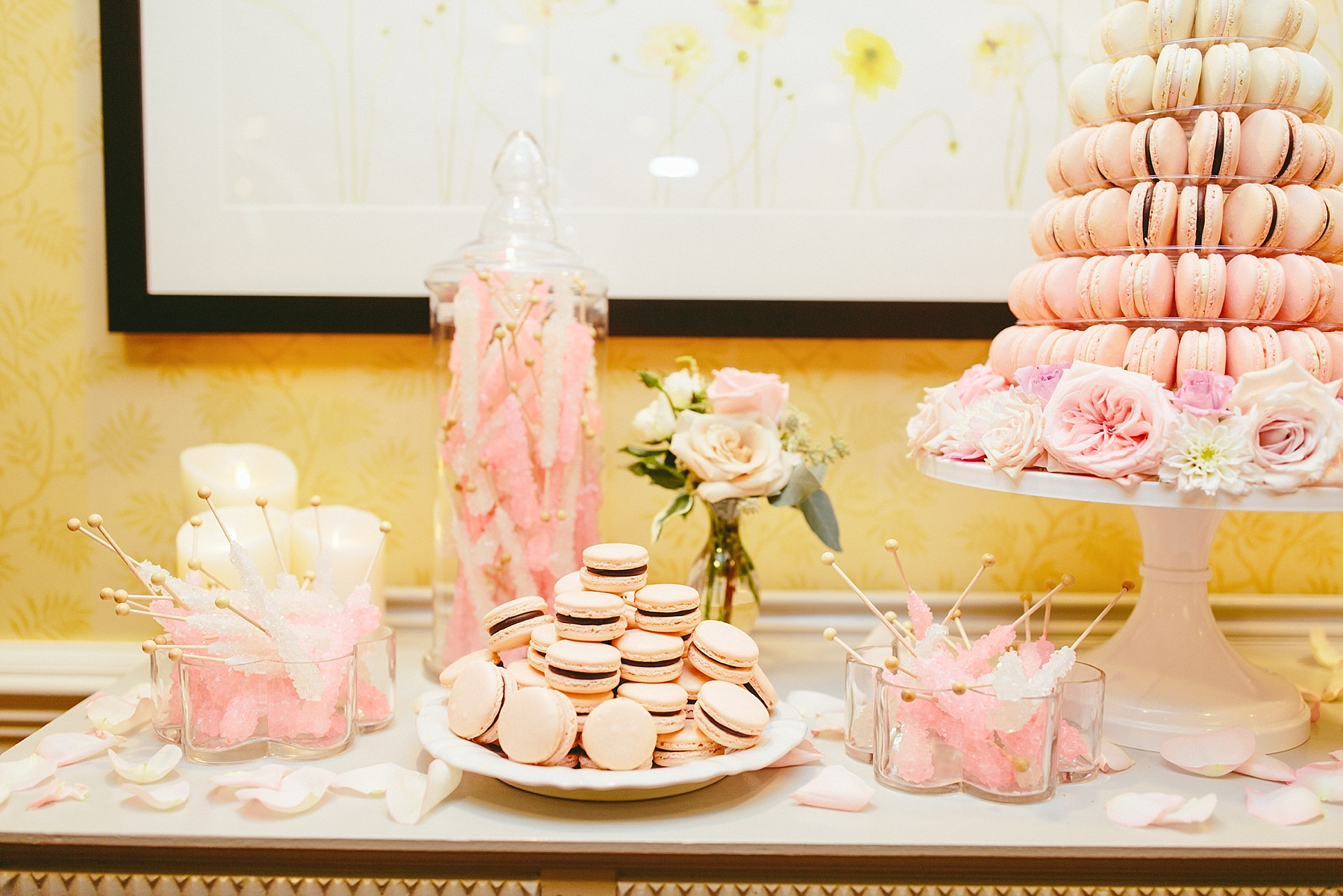 Unique wedding candy table, wedding dessert table, wedding macaroons, unique wedding dessert, macaroon tower, wedding cake alternatives, blush wedding theme, blush wedding colors, blush wedding accents,Brooklyn wedding photography, Brooklyn wedding, Philadelphia wedding photographer, Philadelphia wedding, Brooklyn new york photographer, unique wedding inspiration, fun wedding photos, romantic wedding, destination wedding photographer